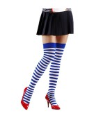 Striped Over Knee Socks 70 White with Blue Medium Fancy Dress Accessory