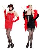 Flapper Gangster Red/Black Large UK 14-16 Adult Ladies Fancy Dress Costume