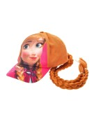Disney Frozen Girls Kids Anna Faux Hair Cap Fancy Dress