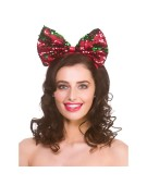Xmas Flip Sequin Bow One Size Adult Fancy Dress Accessory
