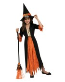 Orange Girl Gothic Witch Costume Kids Halloween Fancy Dress