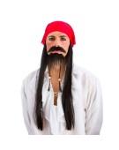 Pirate Set (Bandana w/ Hair,Tash and Beard) Adult Fancy Dress Accessory