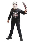 Deluxe Maniac Kids Costume Motion Hockey Killer Motion Mask & weapon Halloween Scary Fancy Dress