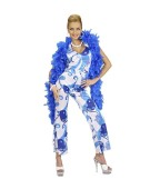 Jumpsuit 70s Fever Blue Medium Adult Ladies Fancy Dress Costume