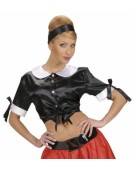 Satin Tie Top Black Medium Adult Ladies Fancy Dress Costume