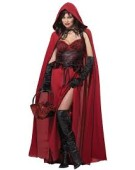 Ladies Dark Red Riding Hood Halloween Fancy Dress Hen Costume