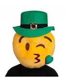 St Patricks Kissing Face Mask Adults Fancy Dress Smiley Emoji Costume Accessory