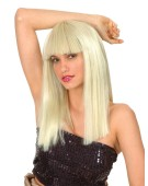Wig Blonde Crimped Long  Adult Womens Fancy Dress Accessory
