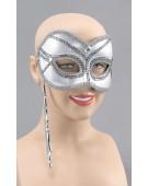 Mask On Stick. Silver costume Fancy Dress