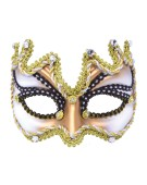 Half Face Mask. Ivory/Gold (H/B) costume Fancy Dress