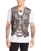 Men Costume Long Tshirt Biker Tattoo Realistic Fancy Dress