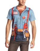 Faux Real Men Costume Short TShirt Plumber Realistic Fancy Dress