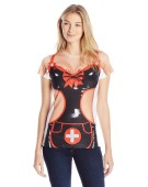 Woman Costume Ladies Short TShirt Sexy Nurse Realistic Fancy Dress