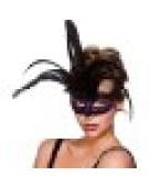 Milano Eyemask Mask for Masquerade Fancy Dress - Black with Purple Glitter