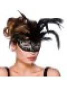 Milano Eyemask Mask for Masquerade Fancy Dress - Black with Silver Glitter