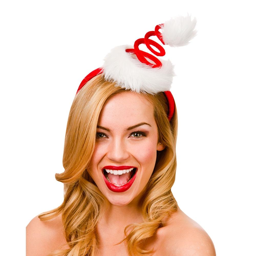 Christmas Fancy Dress Funny.Spiral Santa Hat On Headband Xmas Accessory
